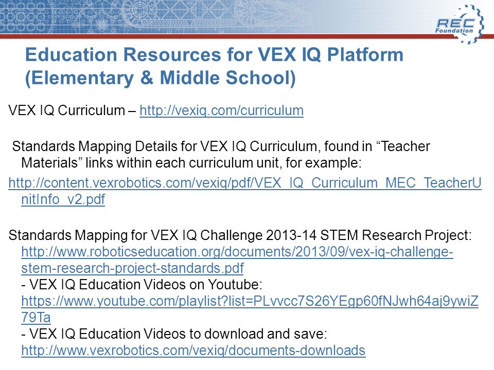 Education Resources for VEX IQ Platform (Elementary & Middle School)