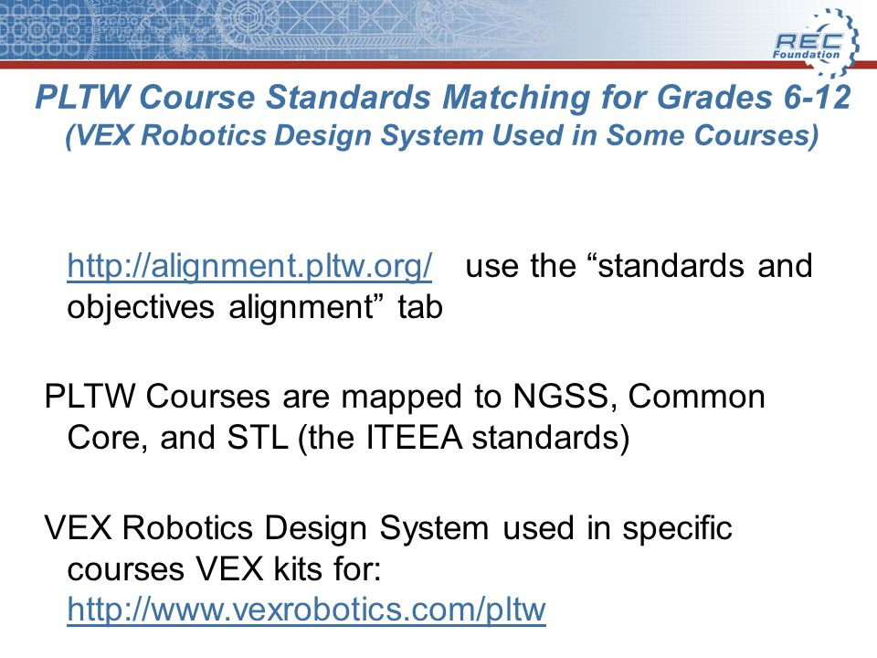 PLTW Course Standards Matching for Grades 6-12 (VEX Robotics Design System Used in Some Courses)