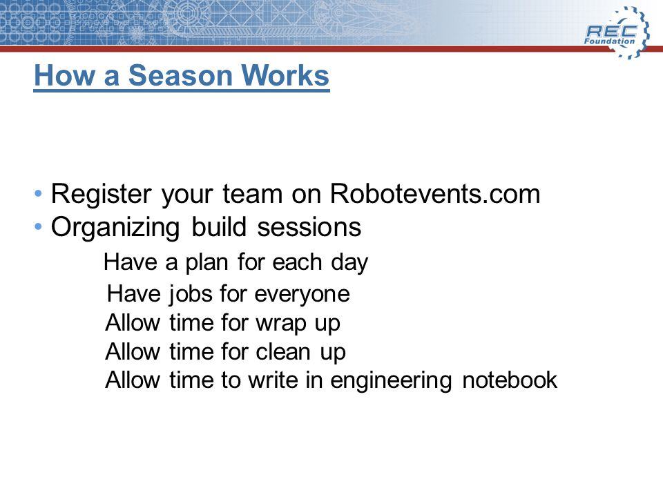 How a Season Works Register your team on Robotevents.com