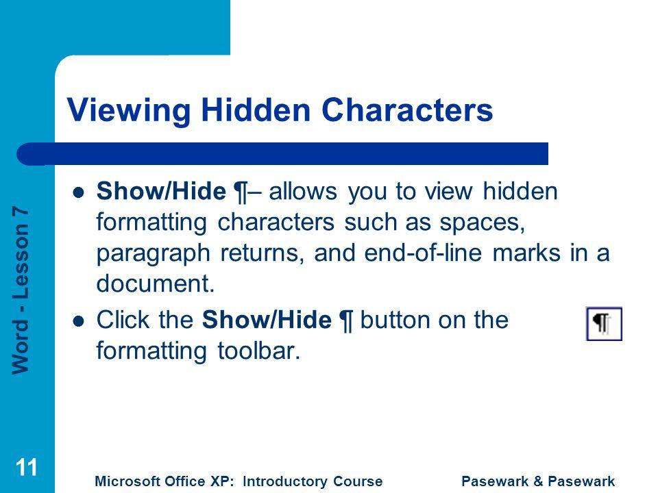 Viewing Hidden Characters