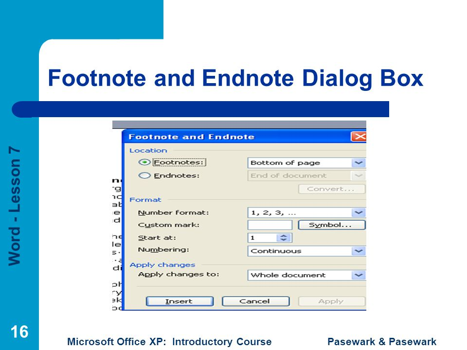 Footnote and Endnote Dialog Box