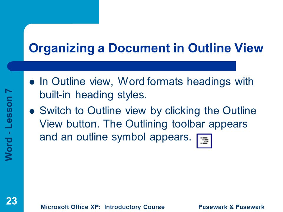 Organizing a Document in Outline View
