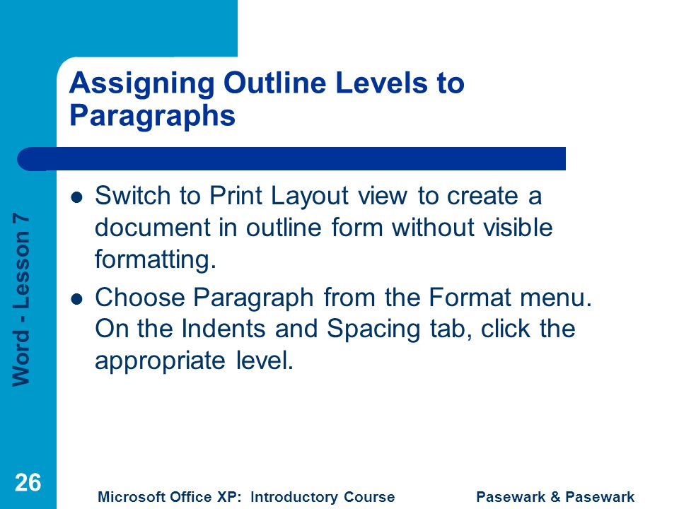 Assigning Outline Levels to Paragraphs