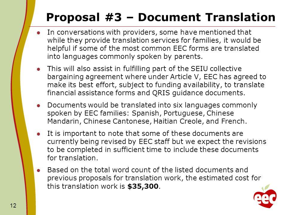 Proposal #3 – Document Translation