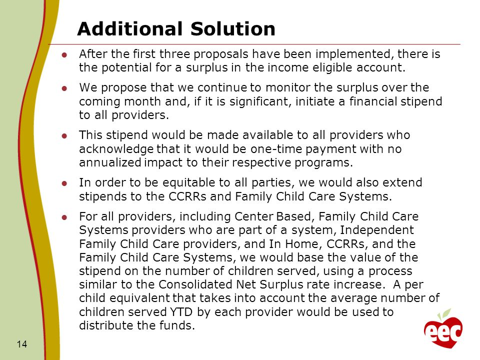 Additional Solution After the first three proposals have been implemented, there is the potential for a surplus in the income eligible account.
