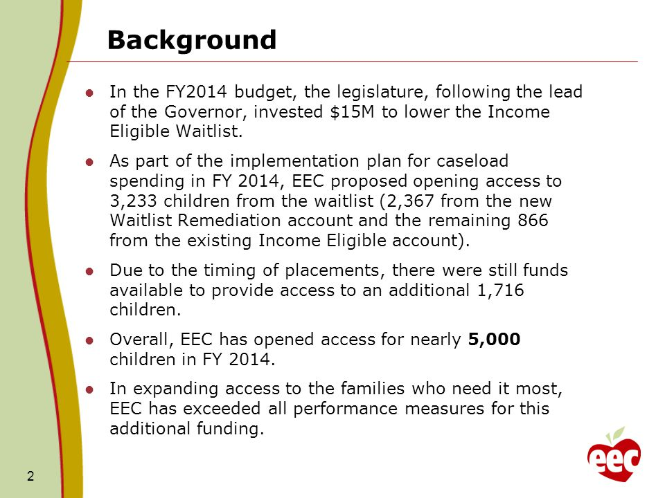 Background In the FY2014 budget, the legislature, following the lead of the Governor, invested $15M to lower the Income Eligible Waitlist.