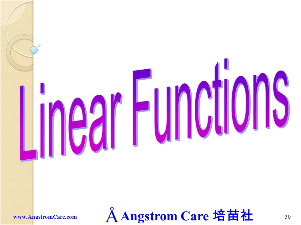 Linear Functions www.AngstromCare.com