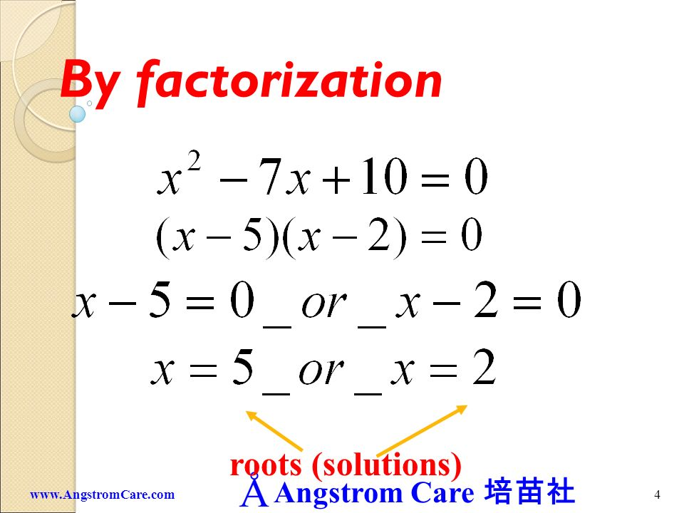 By factorization roots (solutions) www.AngstromCare.com