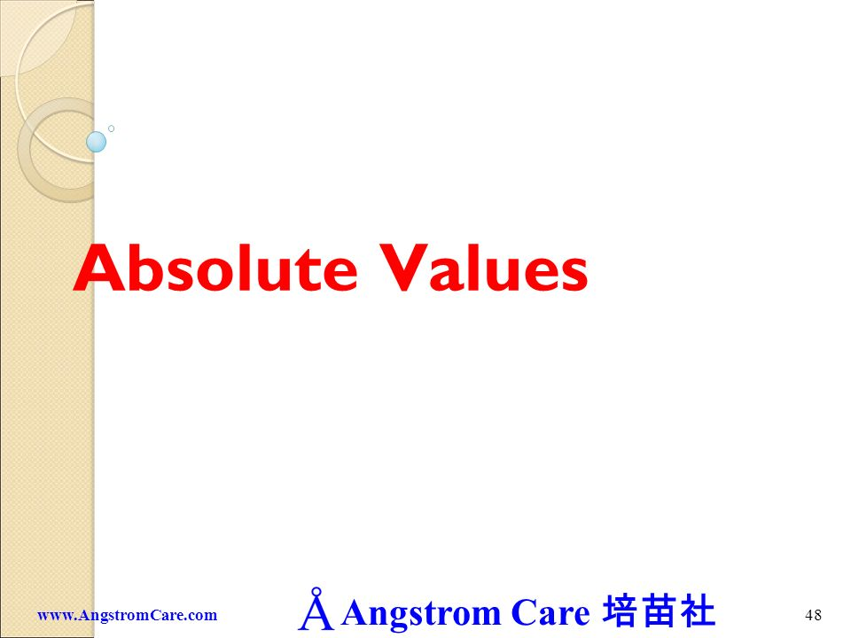 Absolute Values www.AngstromCare.com