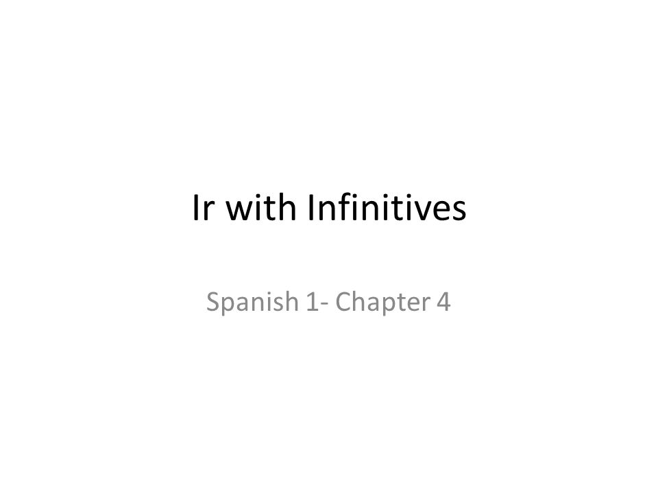 Ir with Infinitives Spanish 1- Chapter 4