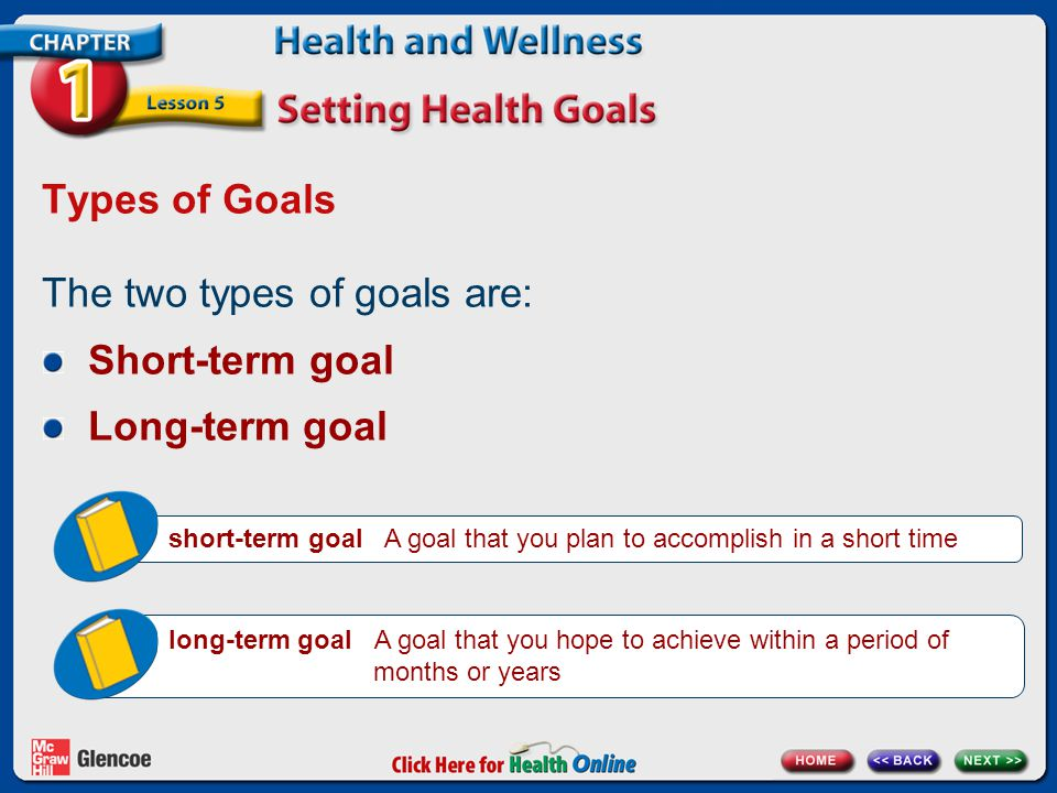 The two types of goals are: Short-term goal Long-term goal