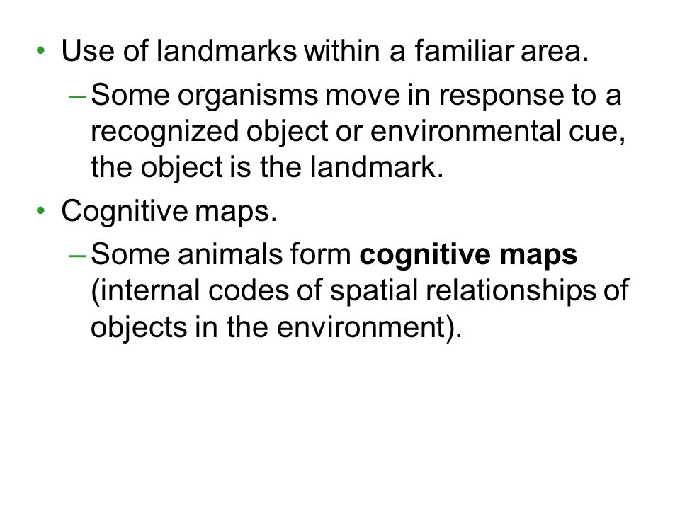 Use of landmarks within a familiar area.