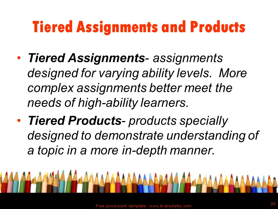 Tiered Assignments and Products