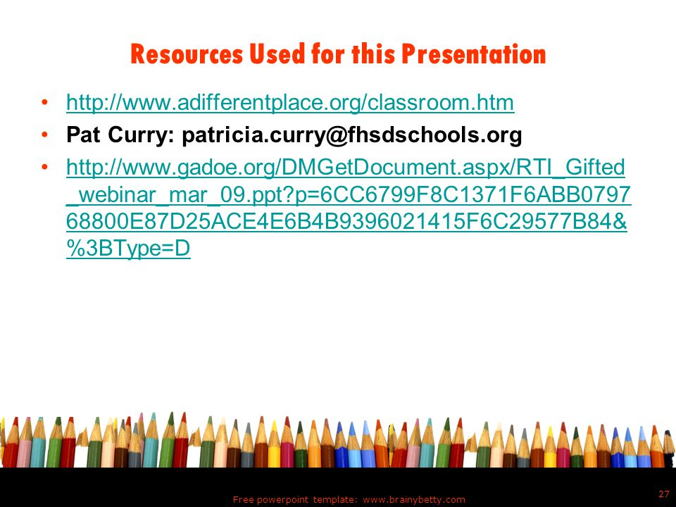 Resources Used for this Presentation
