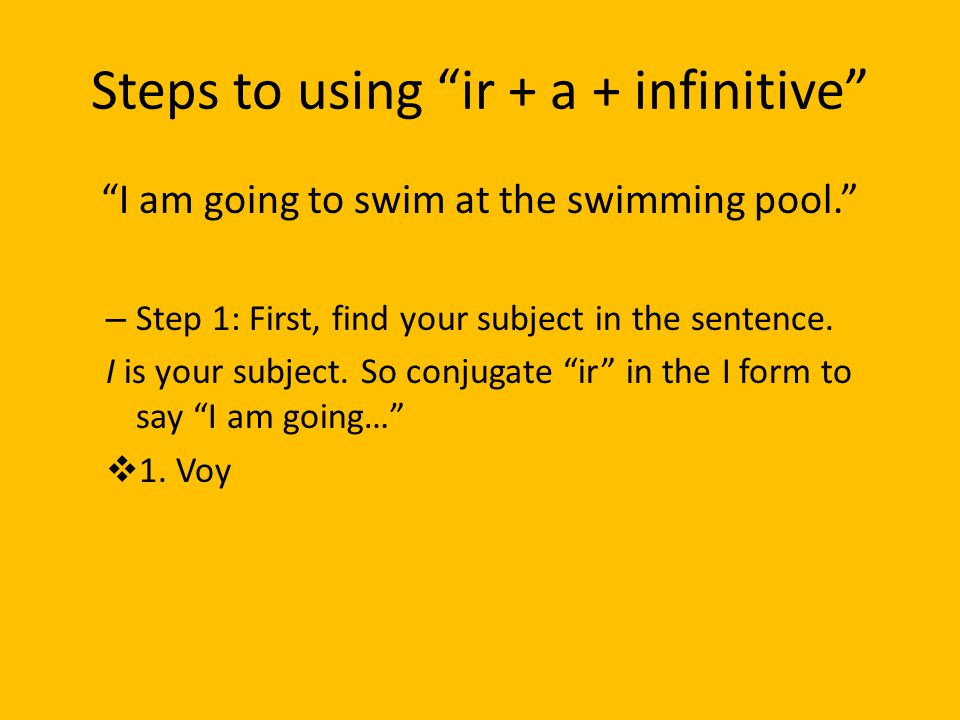 Steps to using ir + a + infinitive