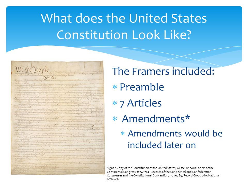 What does the United States Constitution Look Like