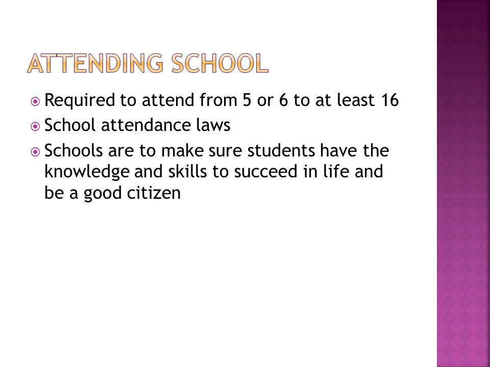 Attending School Required to attend from 5 or 6 to at least 16