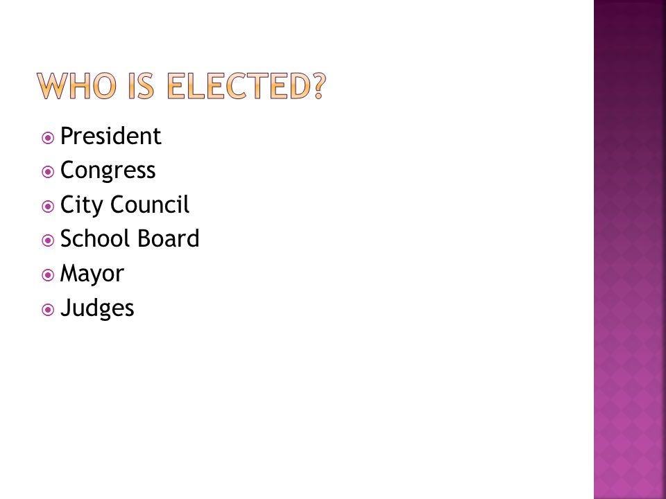 Who is elected President Congress City Council School Board Mayor