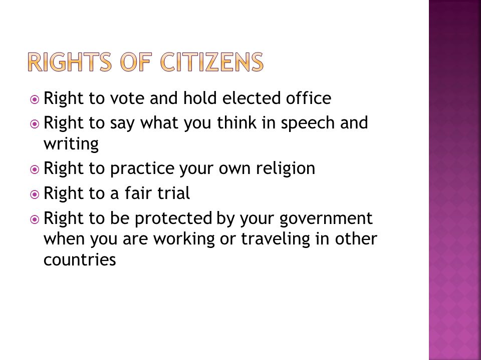 Rights of citizens Right to vote and hold elected office