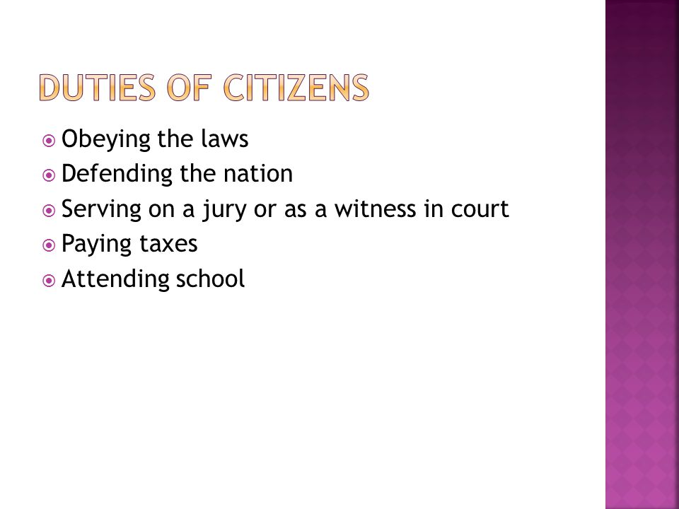 Duties of Citizens Obeying the laws Defending the nation