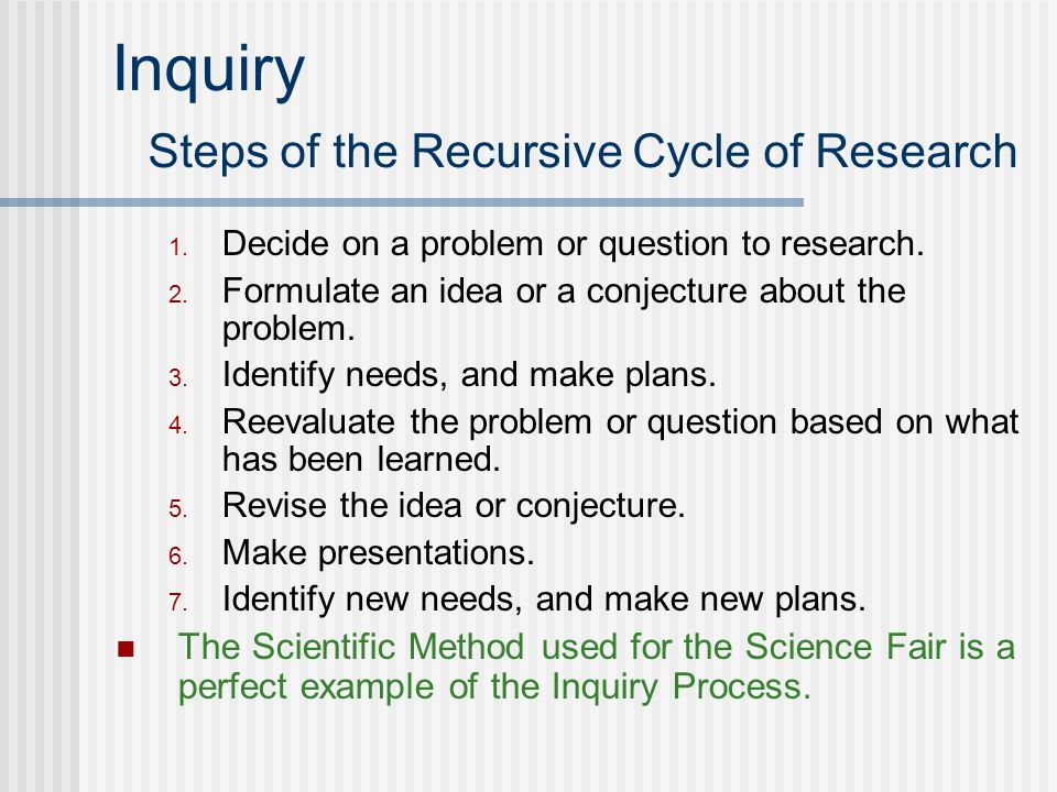 Inquiry Steps of the Recursive Cycle of Research