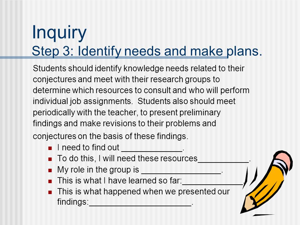 Inquiry Step 3: Identify needs and make plans.