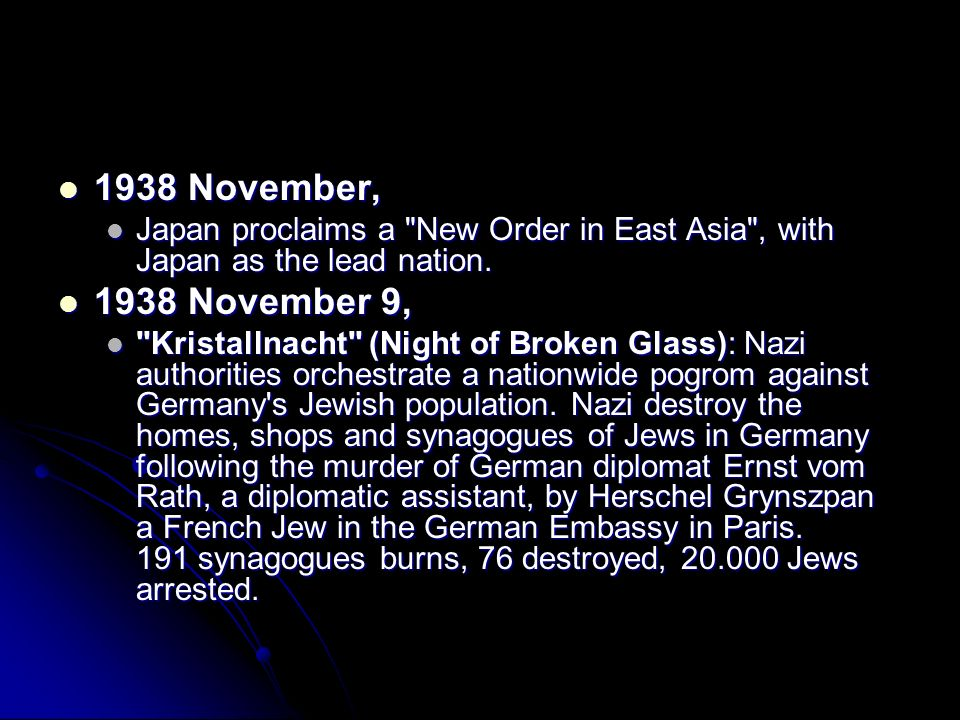 1938 November, Japan proclaims a New Order in East Asia , with Japan as the lead nation. 1938 November 9,