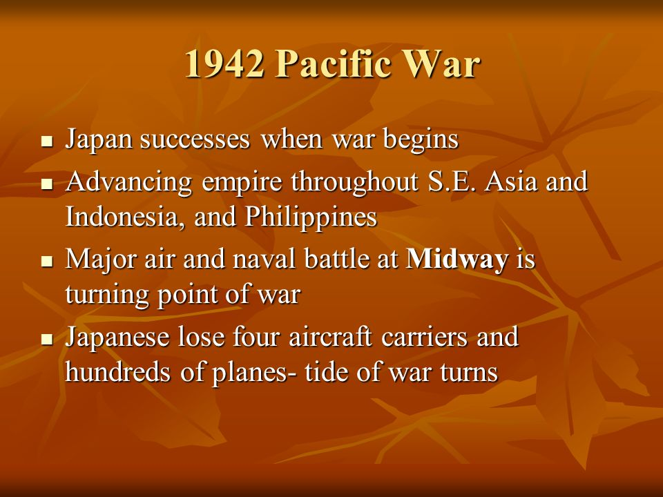 1942 Pacific War Japan successes when war begins