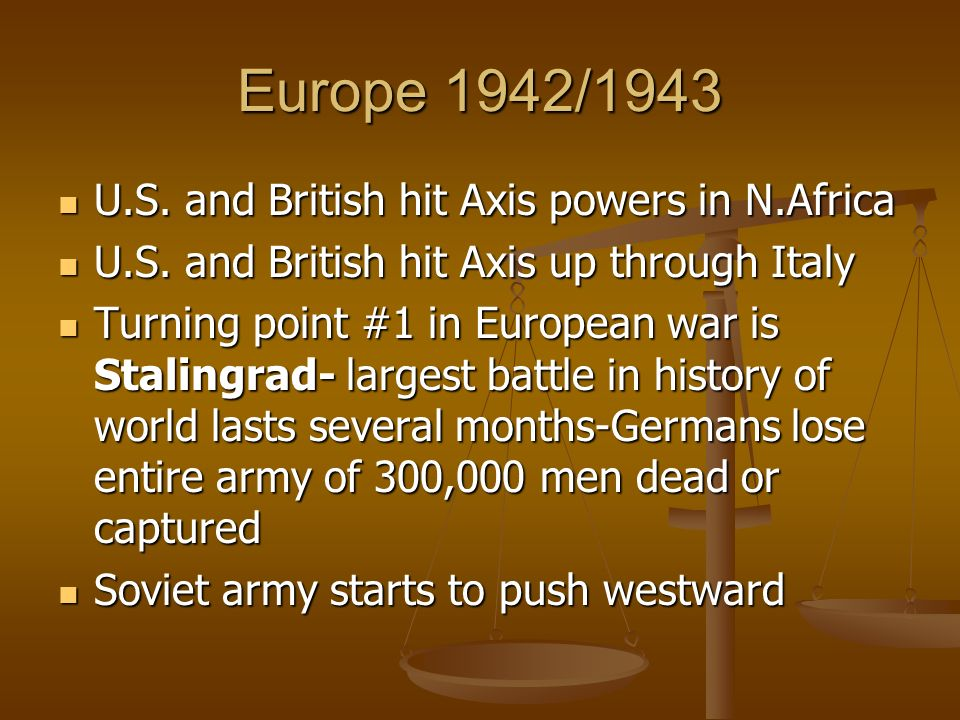 Europe 1942/1943 U.S. and British hit Axis powers in N.Africa