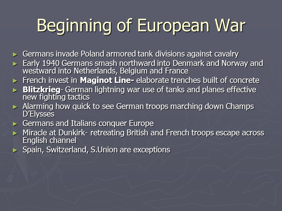 Beginning of European War