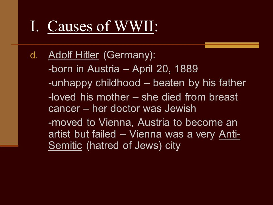 I. Causes of WWII: Adolf Hitler (Germany):