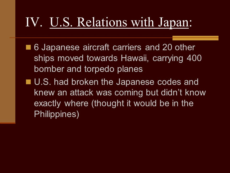 IV. U.S. Relations with Japan: