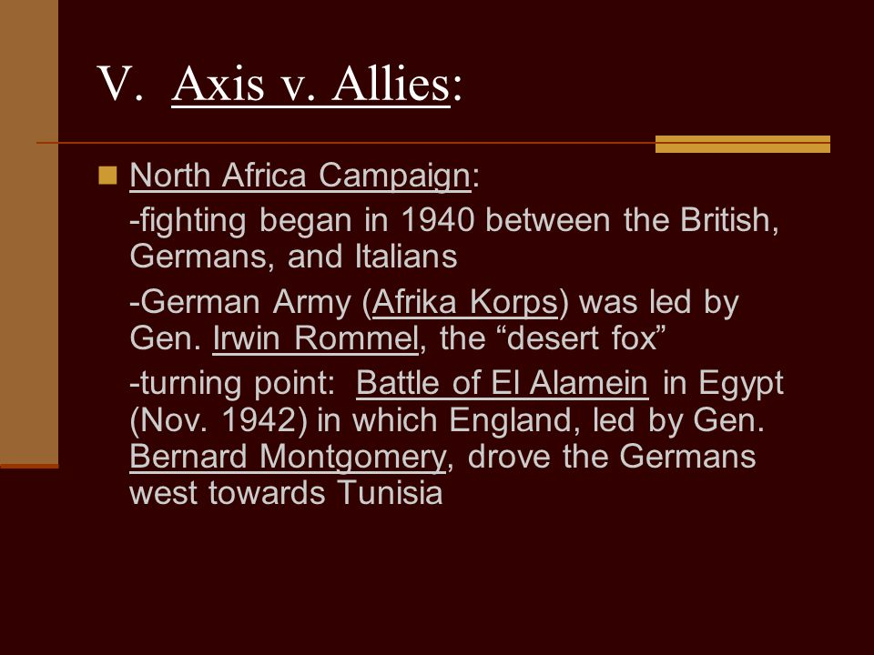 V. Axis v. Allies: North Africa Campaign: