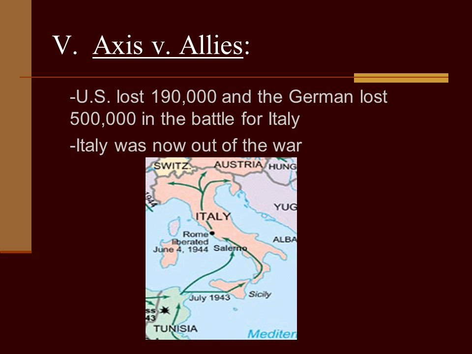 V. Axis v. Allies: -U.S. lost 190,000 and the German lost 500,000 in the battle for Italy.