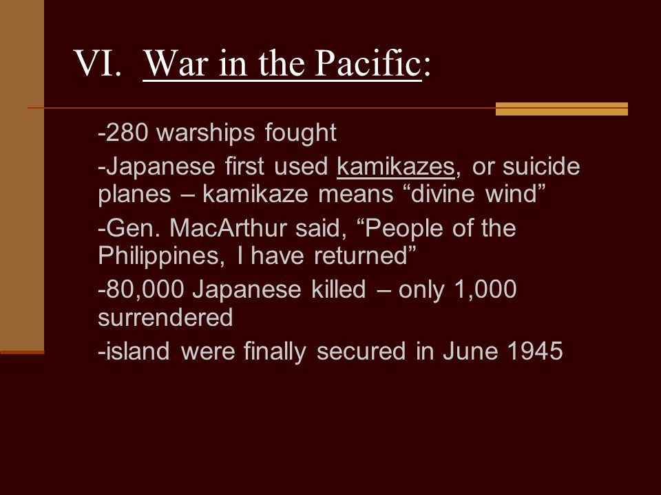 VI. War in the Pacific: -280 warships fought