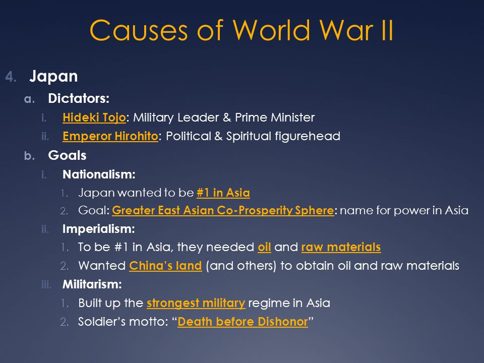 Causes of World War II Japan Dictators: Goals