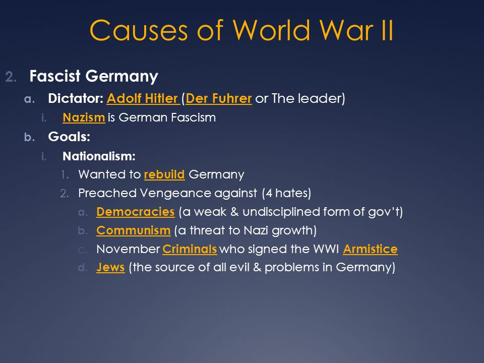 Causes of World War II Fascist Germany