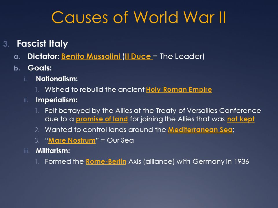 Causes of World War II Fascist Italy