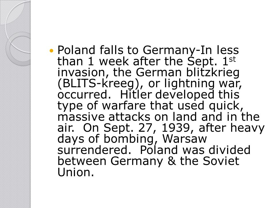 Poland falls to Germany-In less than 1 week after the Sept