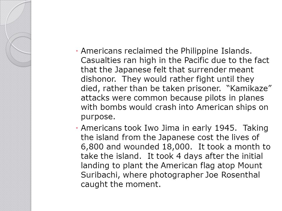 Americans reclaimed the Philippine Islands