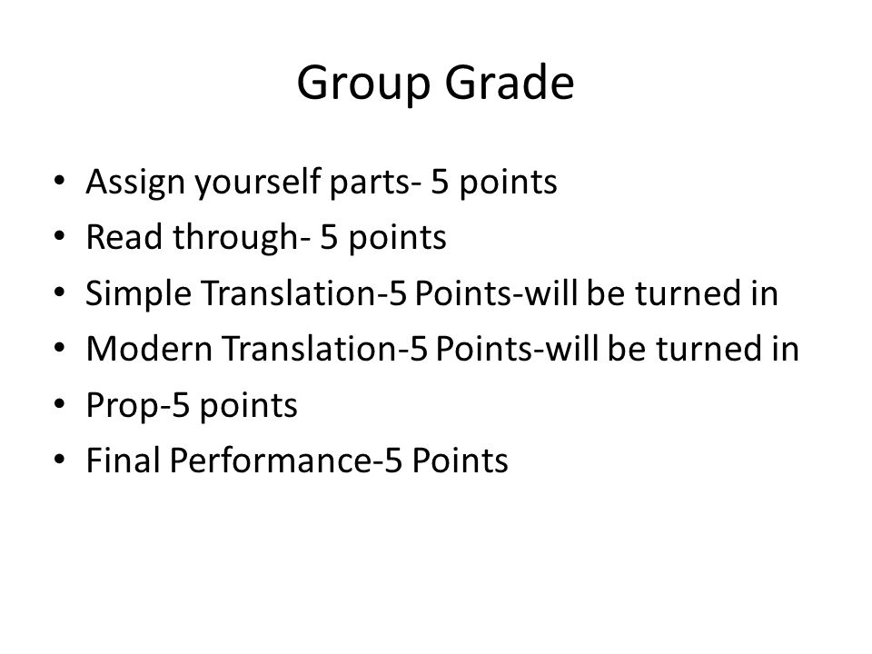 Group Grade Assign yourself parts- 5 points Read through- 5 points