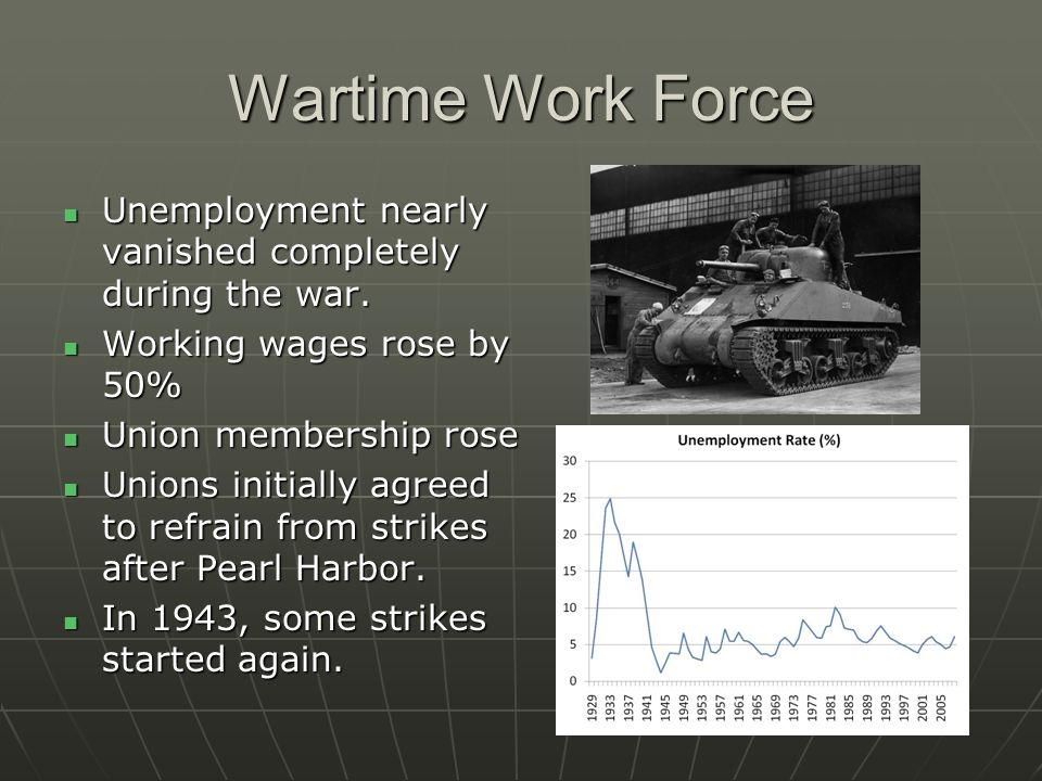 Wartime Work Force Unemployment nearly vanished completely during the war. Working wages rose by 50%