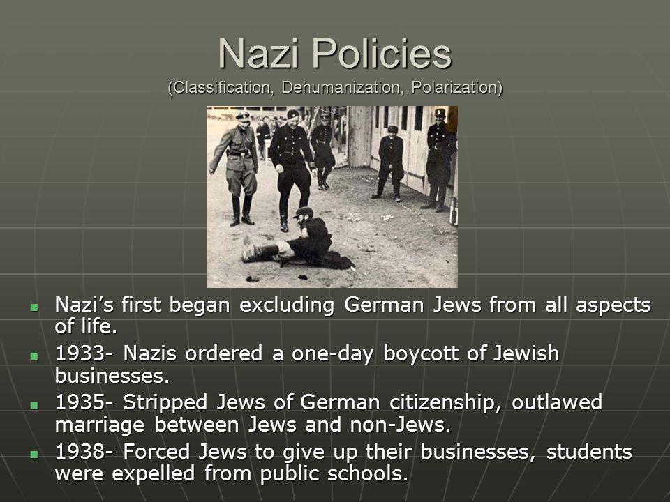 Nazi Policies (Classification, Dehumanization, Polarization)