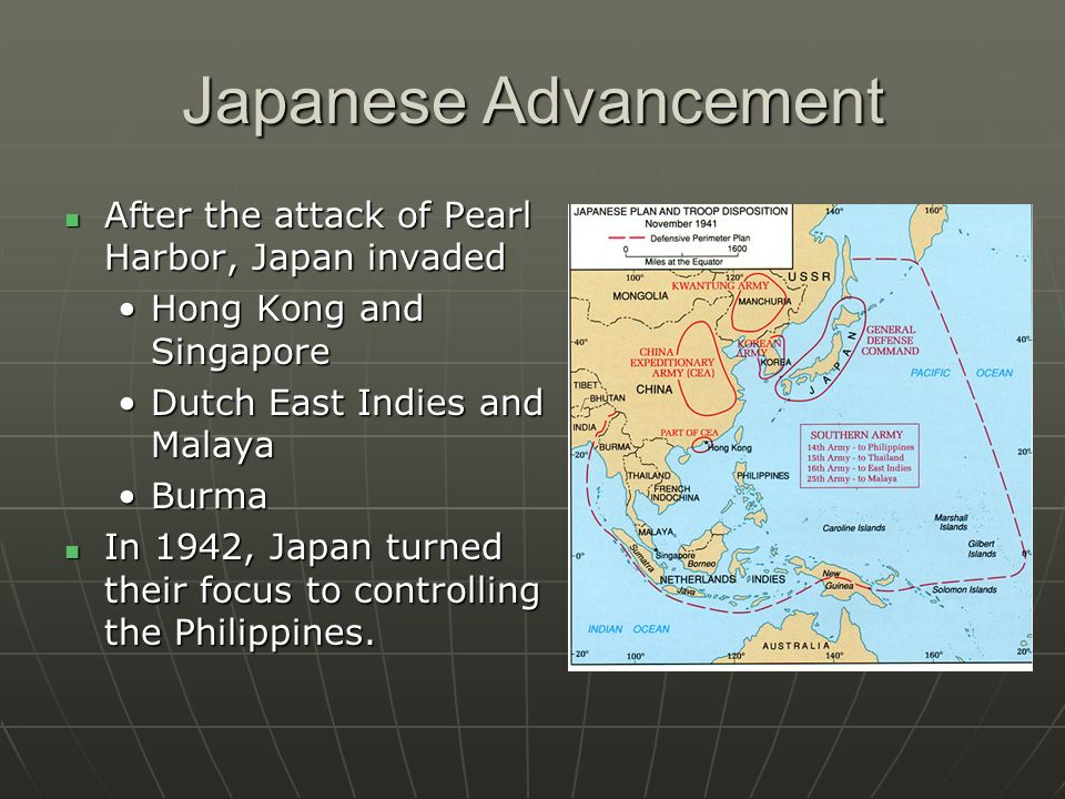 Japanese Advancement After the attack of Pearl Harbor, Japan invaded