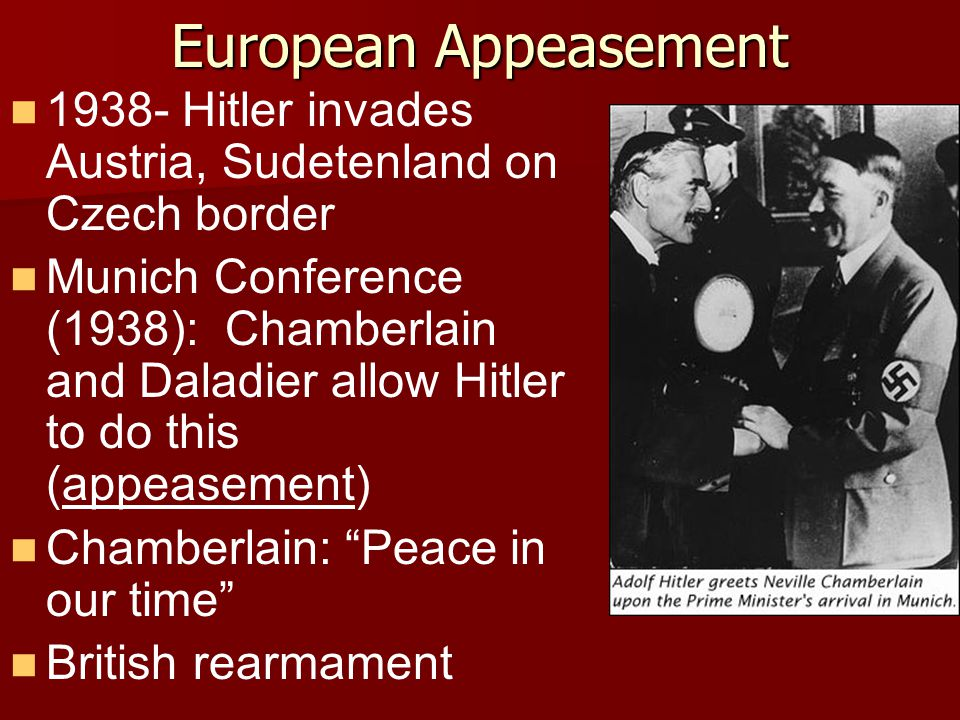 European Appeasement 1938- Hitler invades Austria, Sudetenland on Czech border.