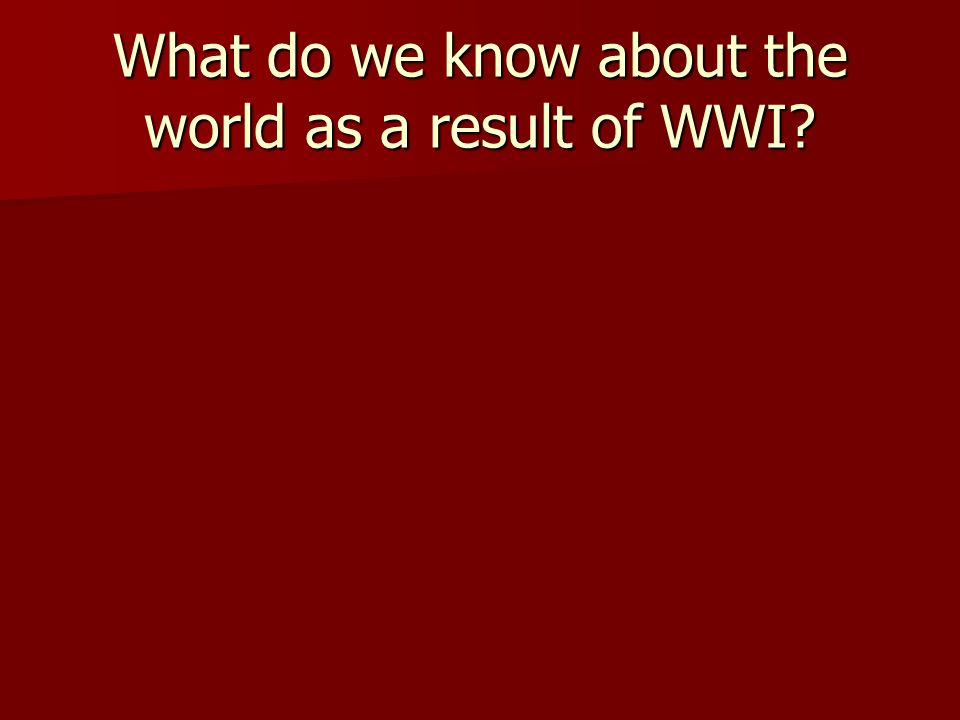 What do we know about the world as a result of WWI