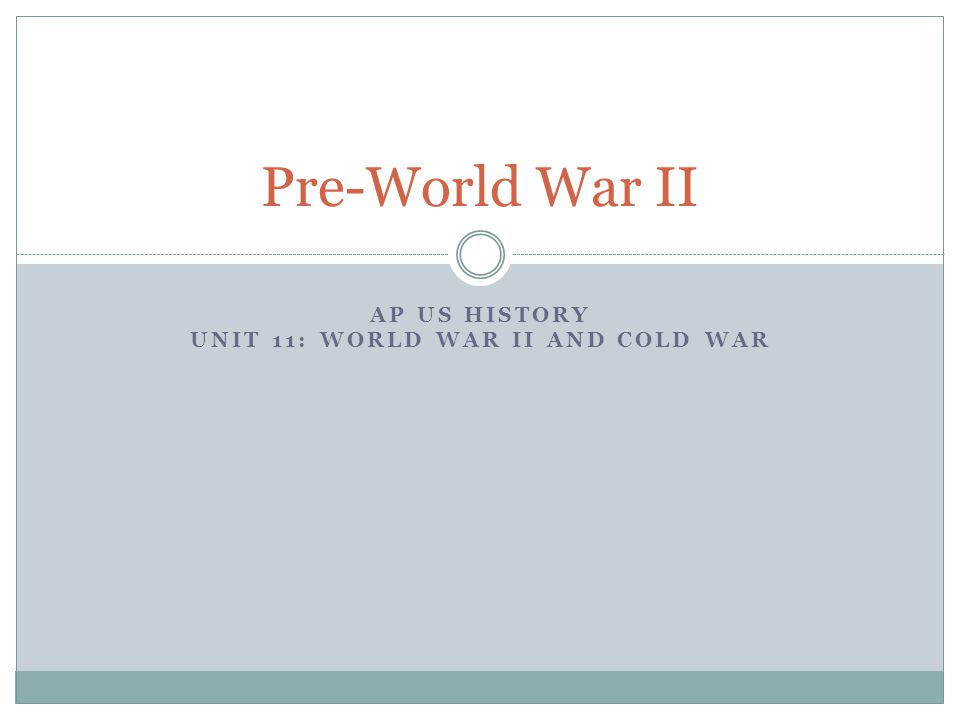 AP US History Unit 11: World War II and Cold War