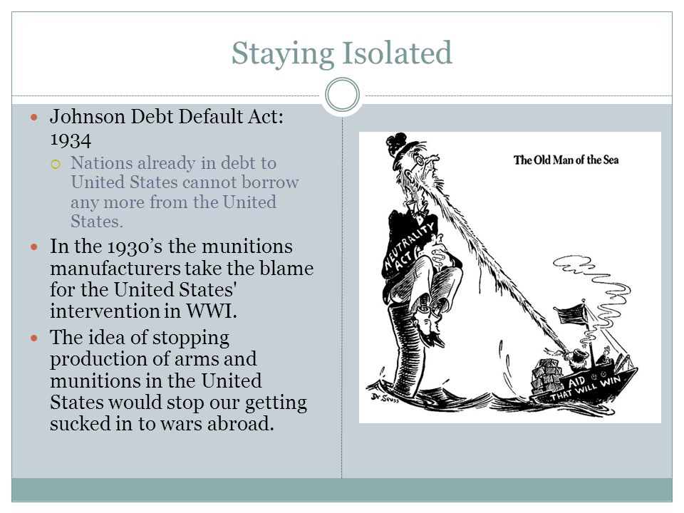 Staying Isolated Johnson Debt Default Act: 1934