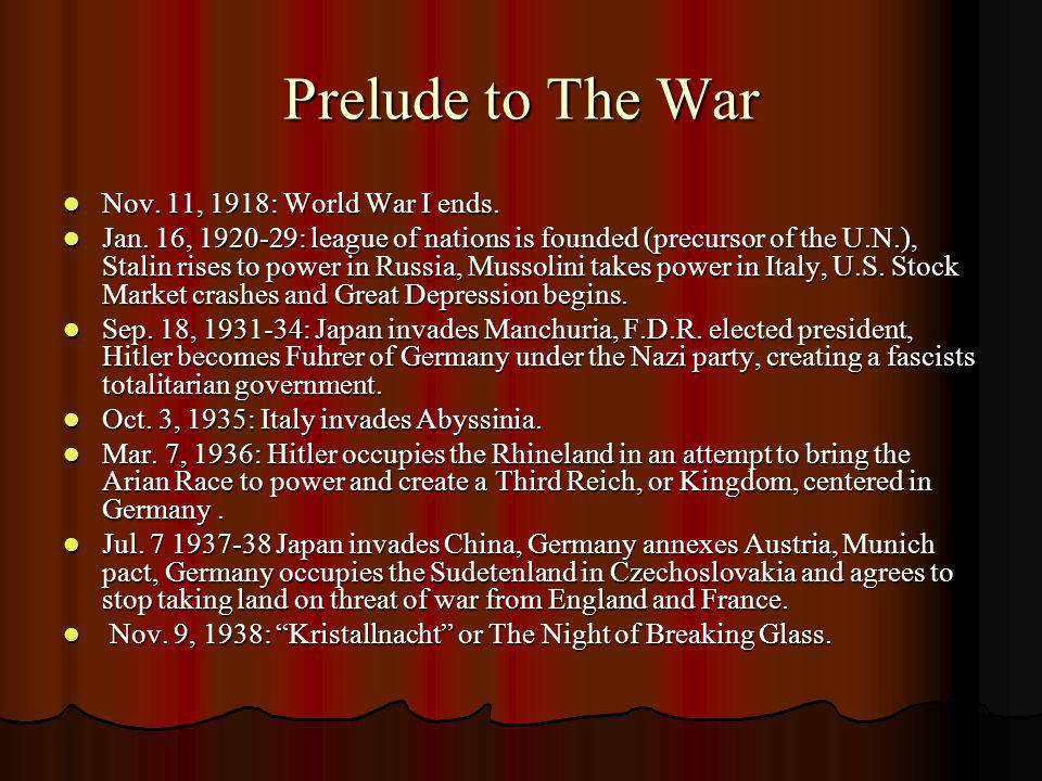 Prelude to The War Nov. 11, 1918: World War I ends.