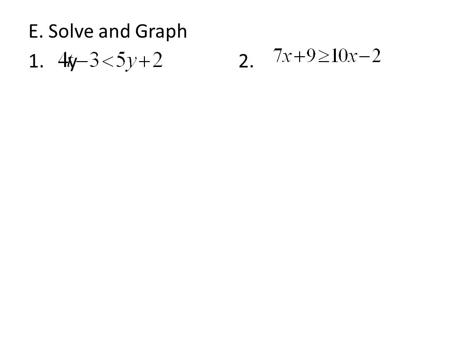E. Solve and Graph 1. y 2.